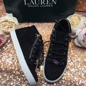 Ralph Lauren Black High Top Sneakers 5.5M